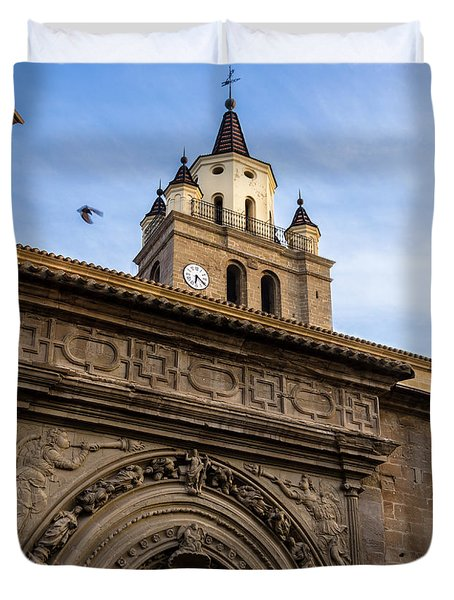 Duvet Cover featuring the photograph Saint Hieronymus Facade Of Calahorra Cathedral by RicardMN Photography