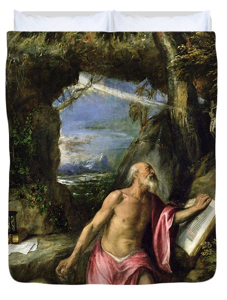 Saint Jerome Duvet Cover by Titian