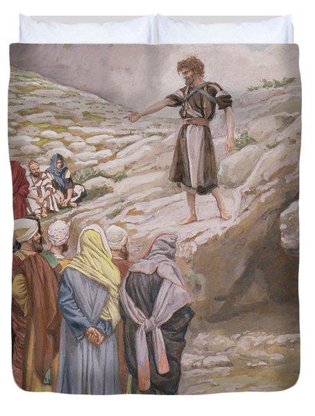 Saint John The Baptist And The Pharisees Duvet Cover by Tissot