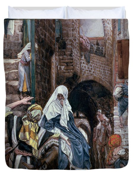 Saint Joseph Seeks Lodging In Bethlehem Duvet Cover by Tissot