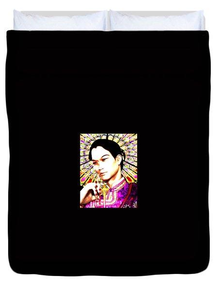 Duvet Cover featuring the painting Saint Lorenzo Ruiz by Suzanne Silvir