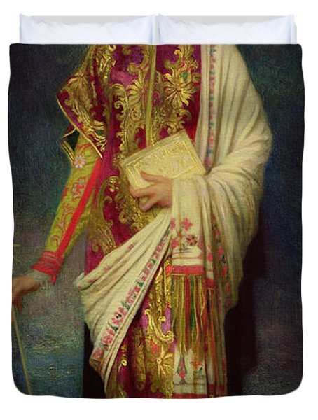 Saint Margaret Slaying The Dragon Duvet Cover by Antoine Auguste Ernest Herbert