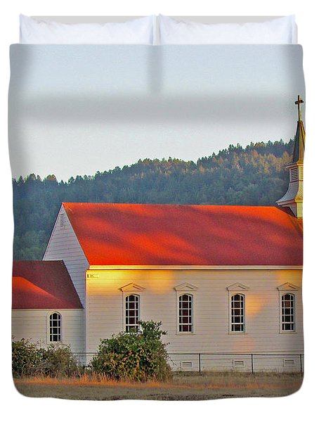 St. Mary's Church At Sunset Duvet Cover
