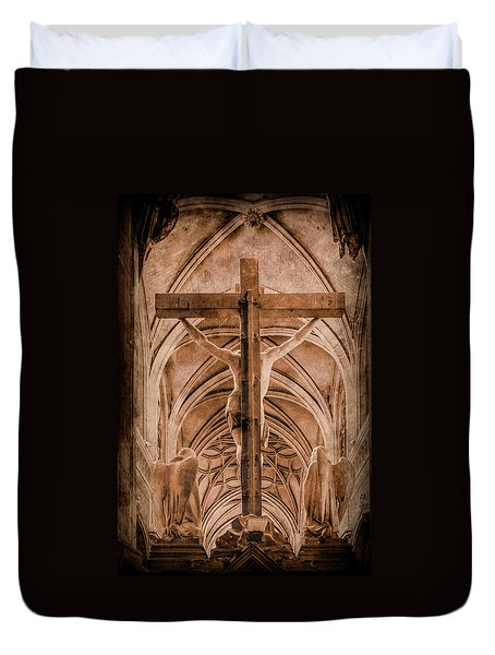 Paris, France - Saint Merri's Cross II Duvet Cover