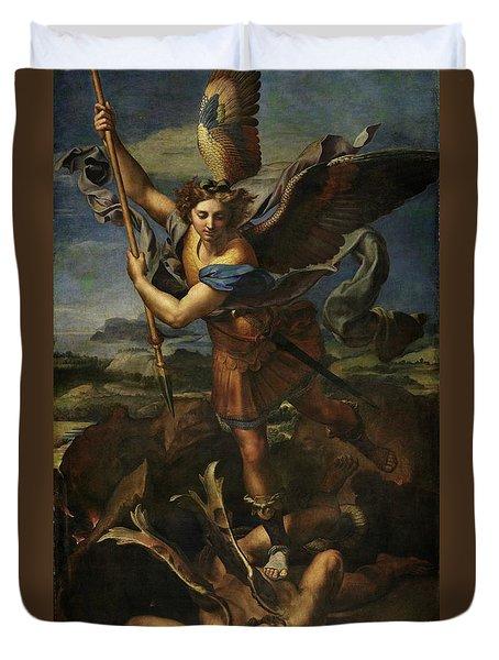 Saint Michael Defeats Satan Duvet Cover
