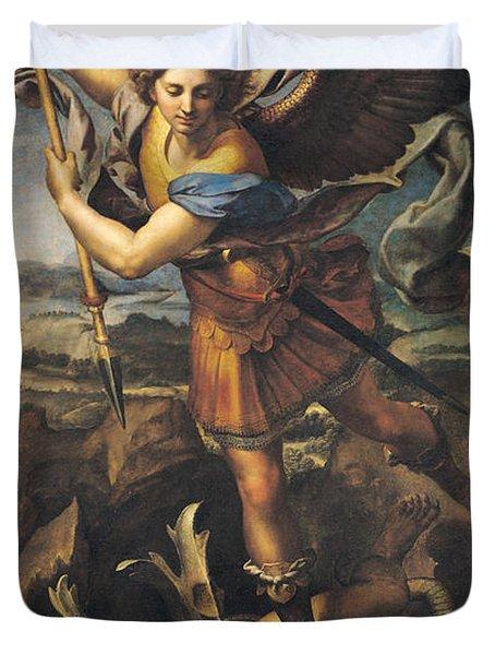 Saint Michael Overwhelming The Demon Duvet Cover by Raphael