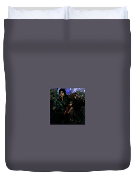 Duvet Cover featuring the painting Saint Michael Protect Us by Suzanne Silvir