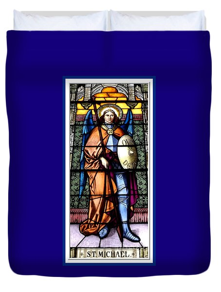 Saint Michael The Archangel Stained Glass Window Duvet Cover