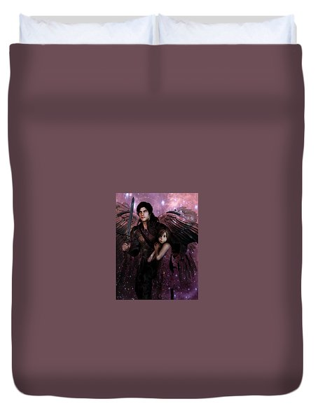 Saint Michael The Protector Duvet Cover by Suzanne Silvir
