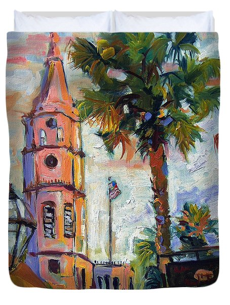 Duvet Cover featuring the painting Saint Michaels Church Charleston Sc Oil Painting by Ginette Callaway