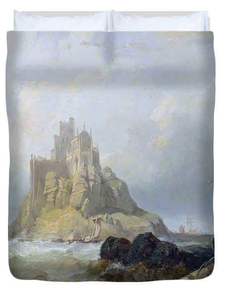 Saint Michael's Mount In Cornwall  Duvet Cover by William Clarkson Stanfield