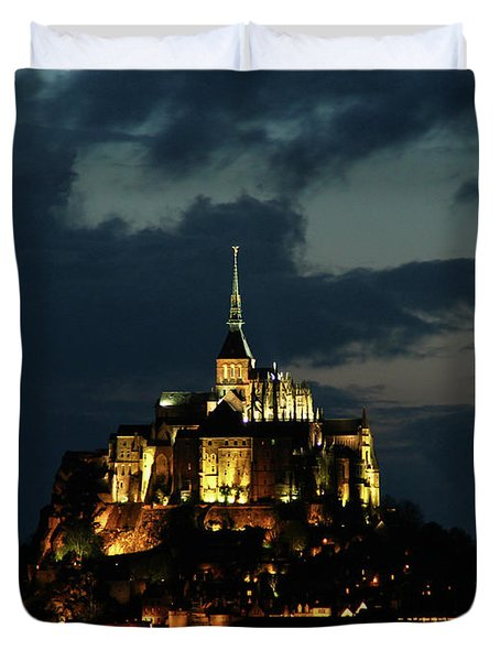 Duvet Cover featuring the photograph Saint Michel Mount After The Sunset, France by Yoel Koskas