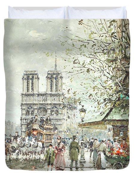 Saint Michel Square, Notre Dame Duvet Cover