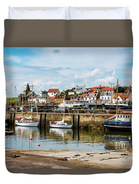 Duvet Cover featuring the photograph Saint Monans Harbour by MaryJane Armstrong