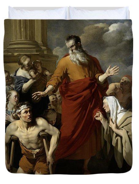 Saint Paul Healing The Cripple At Lystra Duvet Cover by Karel Dujardin