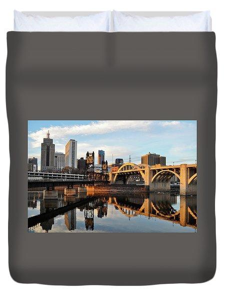 Saint Paul Mississippi River Sunset Duvet Cover