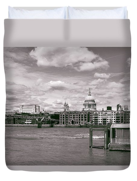 Saint Pauls Cathedral Along The Thames Duvet Cover by Nop Briex