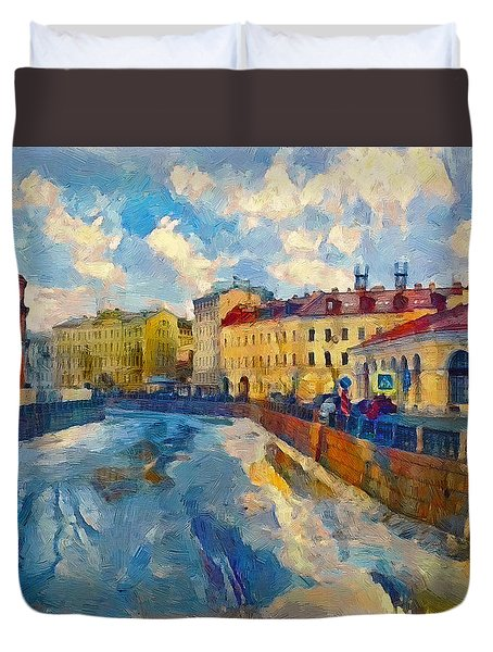 Saint Petersburg Winter Scape Duvet Cover