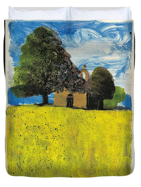 Duvet Cover featuring the painting Saint Pierre At Pierrerue by Martin Stankewitz