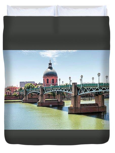 Duvet Cover featuring the photograph Saint-pierre Bridge In Toulouse by Elena Elisseeva