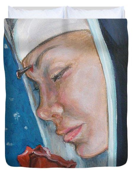 Saint Rita Of Cascia Duvet Cover by Bryan Bustard