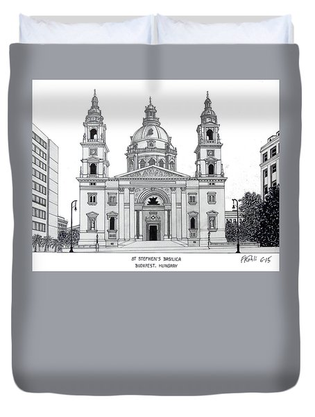 Duvet Cover featuring the drawing Saint Stephens Basilica by Frederic Kohli