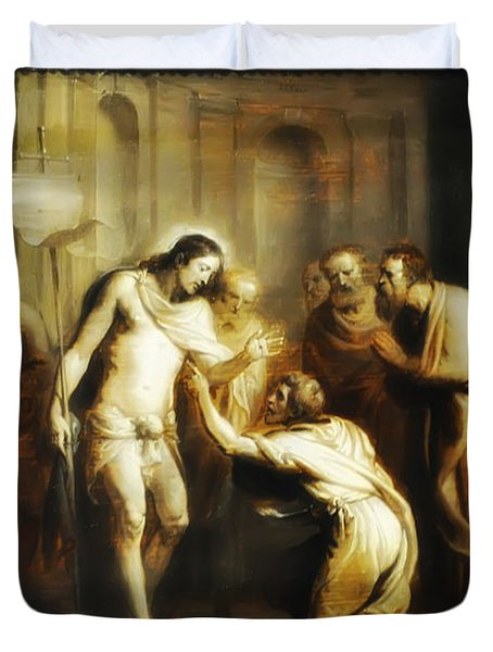 Saint Thomas Touching Christ's Wounds Duvet Cover by Bill Cannon