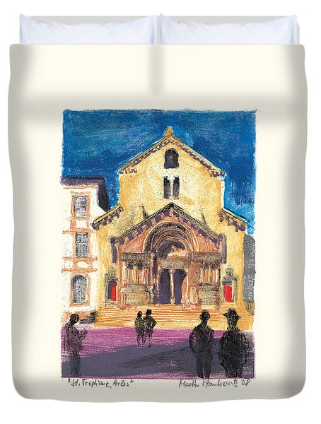 Duvet Cover featuring the painting Saint Trophime Arles Provence by Martin Stankewitz