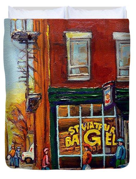 Saint Viareur And Park Avenue Bagel Shop Duvet Cover by Carole Spandau