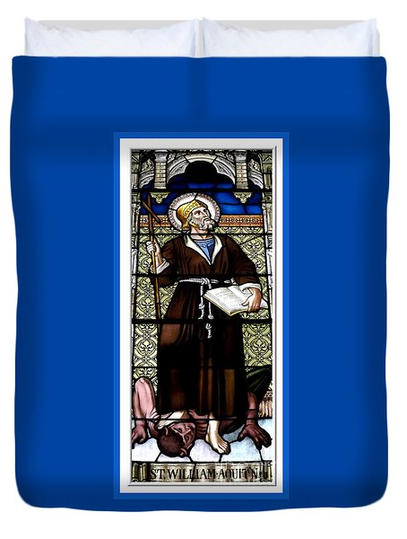 Saint William Of Aquitaine Stained Glass Window Duvet Cover