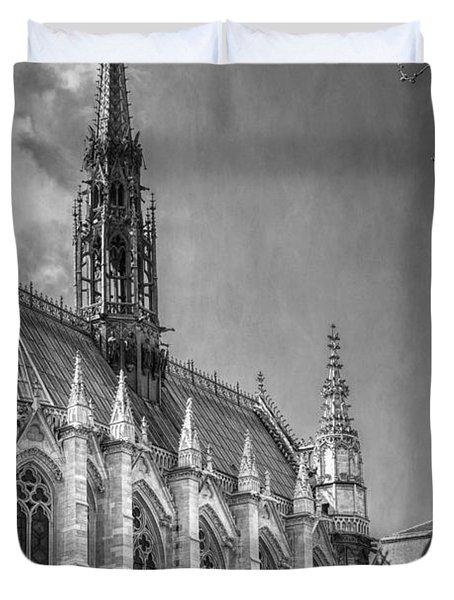 Sainte Chapelle Paris Bw Duvet Cover