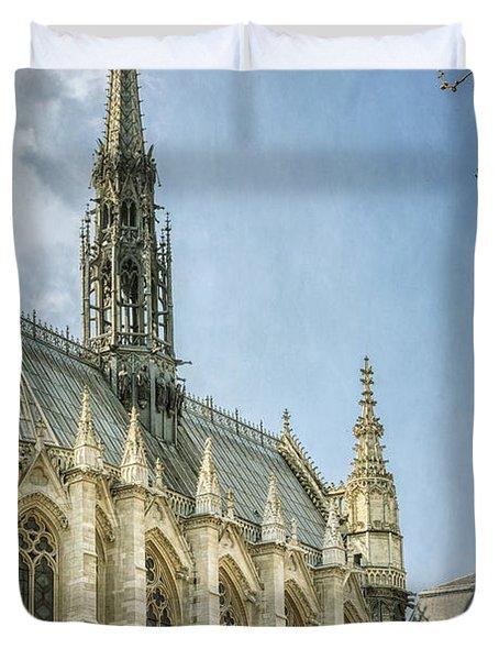 Sainte Chapelle Paris With Border Duvet Cover