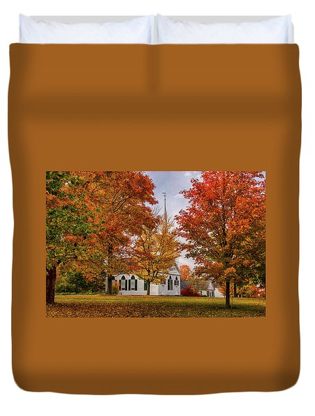Duvet Cover featuring the photograph Salem Church In Autumn by Jeff Folger