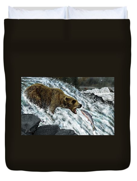 Duvet Cover featuring the photograph Salmon Fishing by Don Olea