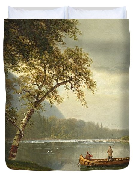 Salmon Fishing On The Caspapediac River Duvet Cover by Albert Bierstadt