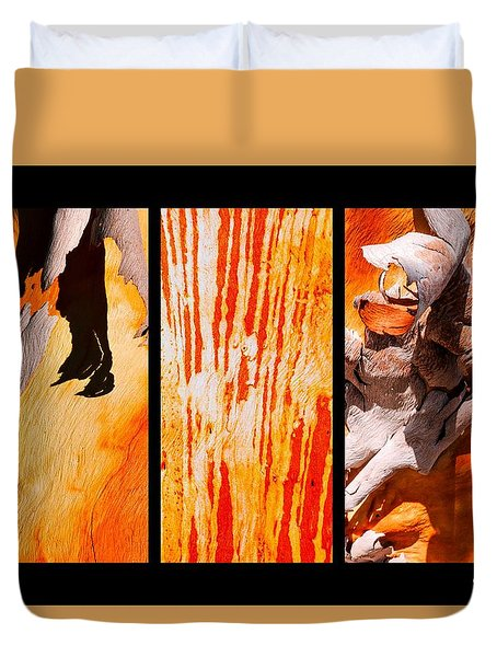 Salmon Gum Tree Triptych Duvet Cover