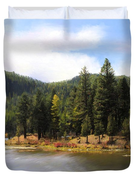 Salmon Lake Montana Duvet Cover