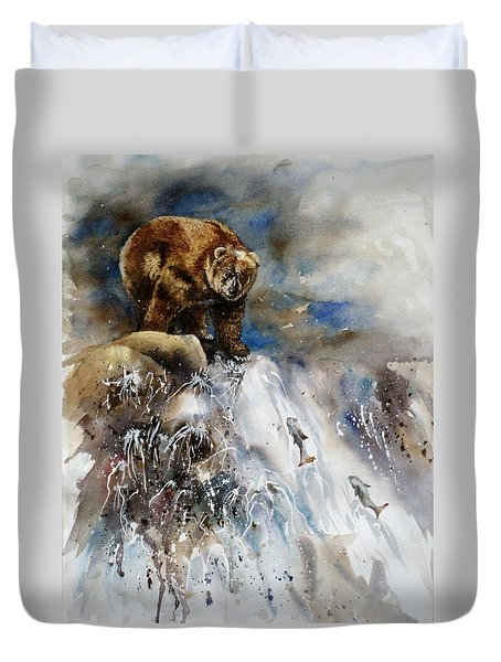 Salmon Run Duvet Cover by Mary McCullah