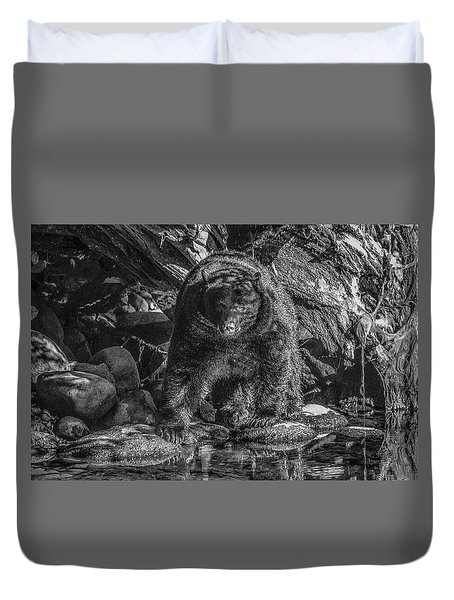 Salmon Seeker Black Bear  Duvet Cover