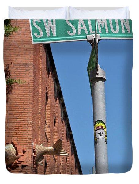 Salmon Through A Building Duvet Cover