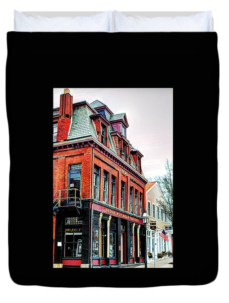 Duvet Cover featuring the photograph Saloon Bristol Ri by Tom Prendergast