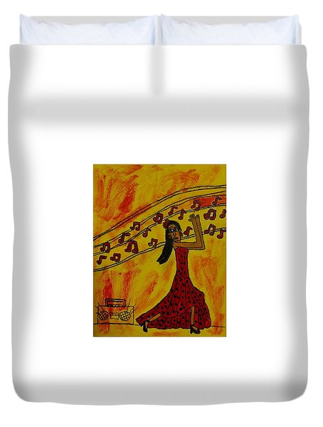 Duvet Cover featuring the painting Salsa Dancer by Artists With Autism Inc