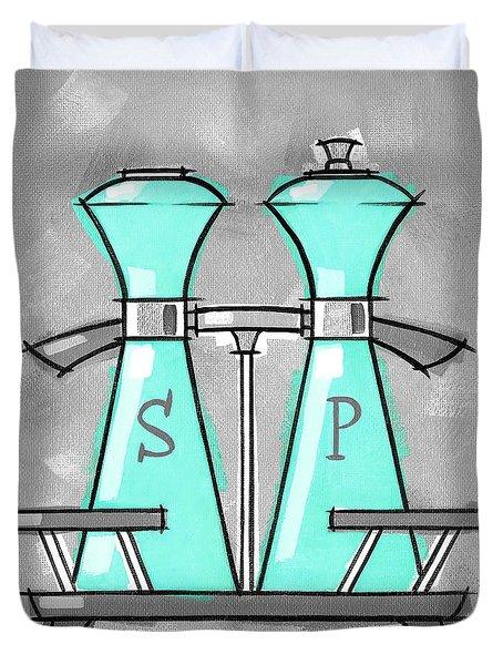 Salt And Pepper Aqua Duvet Cover