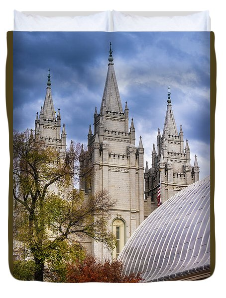 Duvet Cover featuring the photograph Salt Lake Lds Temple And Tabernacle - Utah by Gary Whitton