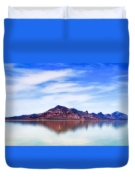 Salt Lake Mountain Duvet Cover