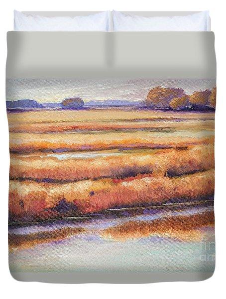 Salt Marsh In Autumn  Duvet Cover by Sally Simon