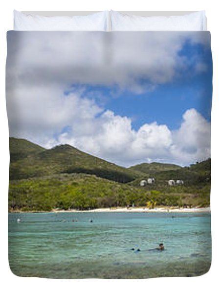 Duvet Cover featuring the photograph Salt Pond Bay Panoramic by Adam Romanowicz