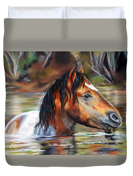 Duvet Cover featuring the pastel Salt River Tango by Karen Kennedy Chatham