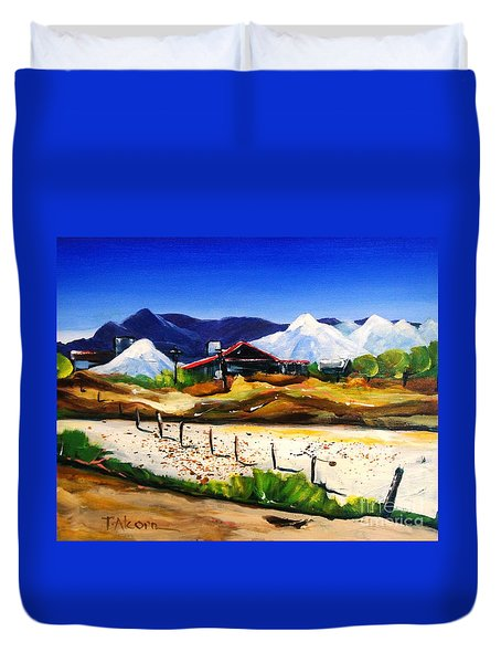 Duvet Cover featuring the painting Salt Works - Port Alma by Therese Alcorn
