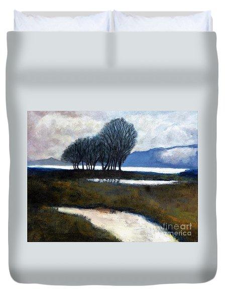 Salton Sea Trees Duvet Cover
